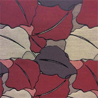 Floral Dark Red,Brown and Black Woven Upholstery Fabric