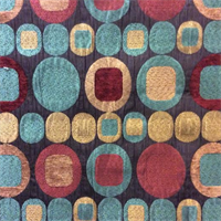 R-Olivia Terracotta Woven Circle and Square Upholstery Fabric