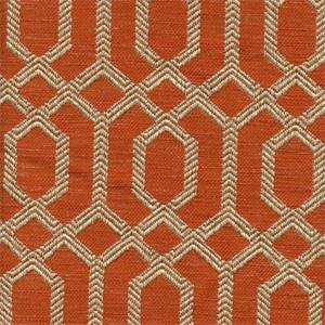 Parquet Sienna Orange Geometric Upholstery Fabric