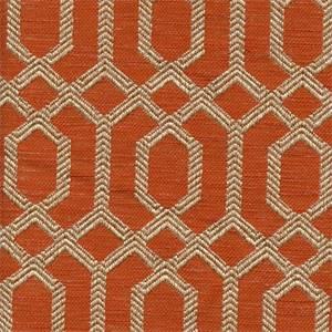 Parquet Sienna Orange Geometric Upholstery Fabric 37656