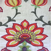 Buckingham Pompeii Red Embroidered Floral Drapery Fabric