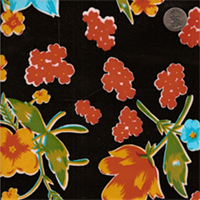Black Floral Oilcloth - 12 Yard Bolt