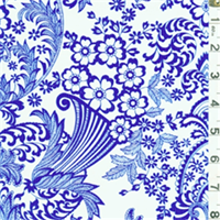 Blue & White Floral Oilcloth 12 Yard Bolt