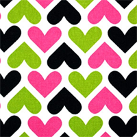 I Heart U Candy Pink Black  - Order-a-swatch