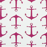 Anchors Candy Pink White Cotton Drapery Fabric By Premier Prints - By the Bolt