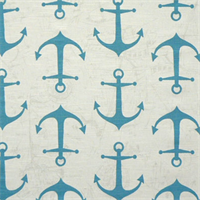 Anchors Coastal Blue/Slub Cotton Drapery Fabric By Premier Prints 30 Yard bolt