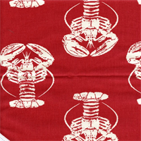Lobster Timberwolf Red Macon Drapery Fabric by Premier Prints 30 Yard bolt