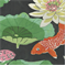 Lotus Lake Ebony Chintz Floral Drapery Fabric by Waverly - Order-a-swatch