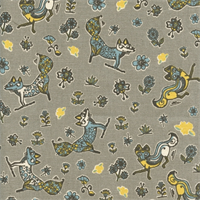 Foxy Cambridge Natural Yellow, Grey, Blue Drapery Fabric by Premier Prints 30 Yard bolt
