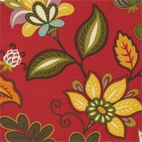 Daisetta Brompton Chili Cotton Floral Drapery Fabric by Swavelle Mill Creek  - Order a Swatch