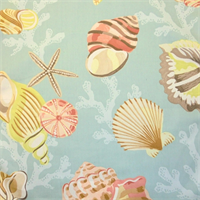 Coral Beach Beach Glass Aquatic Cotton Drapery Fabric by P Kaufman  - Order a Swatch