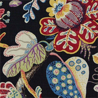 Wonderland Jet Cotton Drapery Fabric  - Order a Swatch