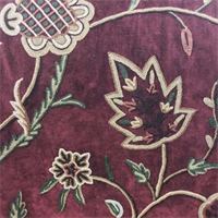 Floral Burgandy Velvet Embroidered Upholstery Fabric - Order a Swatch