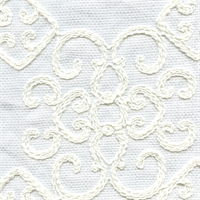 Laurel Embroidered White/White Sheer Drapery Fabric - Order a Swatch