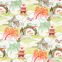 Neo Toile Coral orange Print Drapery Fabric by Robert Allen