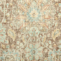 Sariz Saddle Tan Washed Look Printed Floral Velvet Upholstery Fabric by P. Kaufmann