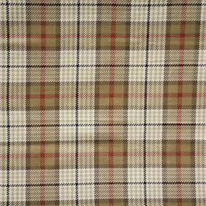 Brennan Camel Tan Plaid/Check Cotton Upholstery Fabric