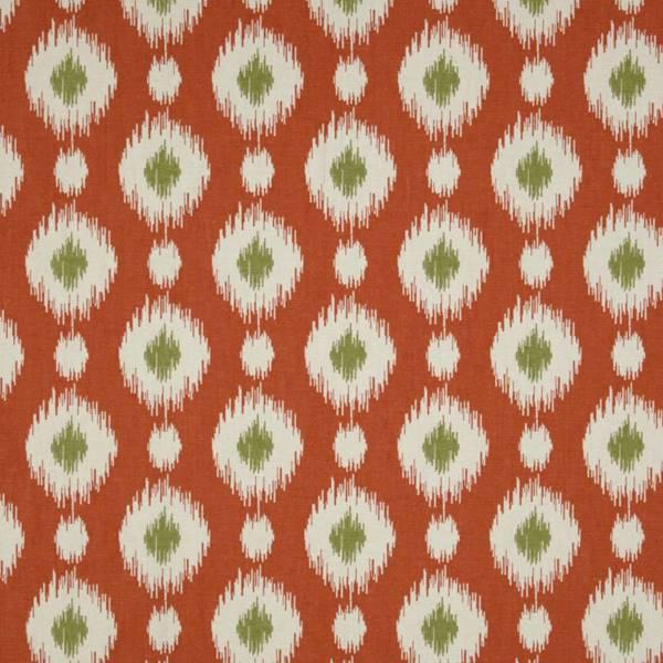 Coral Pattern Fabric delhi coral orange ikat print cotton drapery fabric - 45276