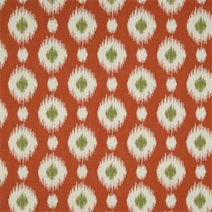Delhi Coral Orange Ikat Print Cotton Drapery Fabric - Order a Swatch