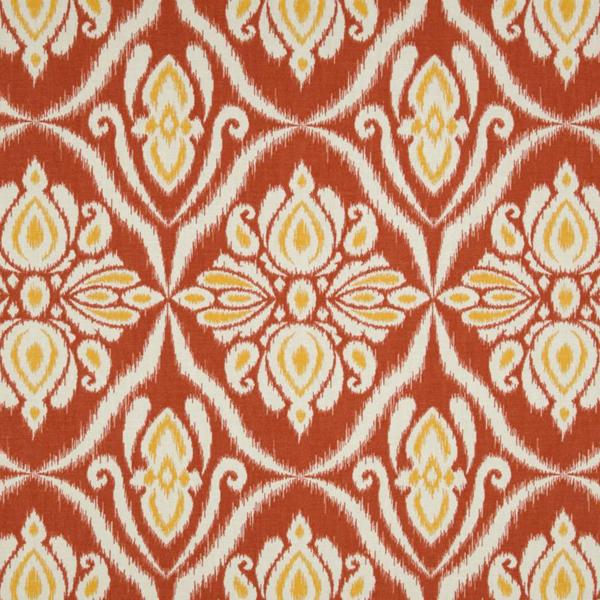 Sofa Fabric In Jaipur: Jaipur Coral Orange Ikat Printed Drapery Fabric
