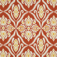 Jaipur Coral Orange Ikat Printed Drapery Fabric