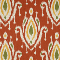 Sura Coral Orange Ikat Print Cotton Drapery Fabric
