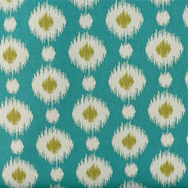 Delhi peacock blue ikat print cotton drapery fabric for Where to order fabric