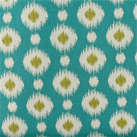 Delhi Peacock Blue Ikat Print Cotton Drapery Fabric Order a Swatch