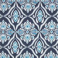 Jaipur Indigo Blue Ikat Print Cotton Drapery Fabric
