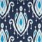 Surat Indigo Blue Ikat Print Cotton Drapery Fabric Order a Swatch
