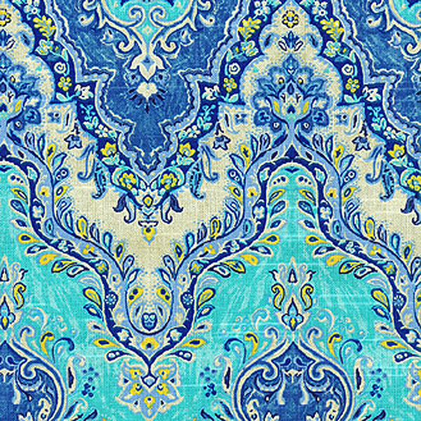 Palace Suri Prussian Blue Floral Drapery Fabric by Waverly - SW45335 ...