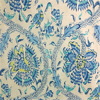 Holi Festival Prussian Blue Floral Drapery Fabric by Waverly Order a Swatch