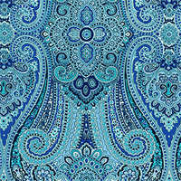 Paisley Pizzazz Delft Blue Paisley Floral Drapery Fabric by Waverly