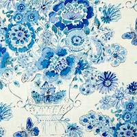 Blissful Bouquet Blueberry Blue Floral Drapery Fabric