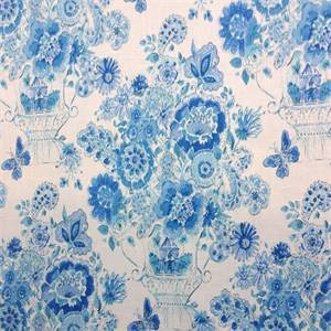 Blissful Bouquet Blueberry Blue Floral Drapery Fabric Order a Swatch