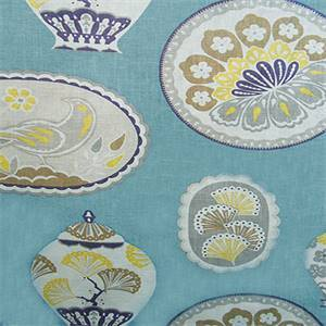 Imperial Treasure Teal Blue Floral Drapery Fabric by Braemore