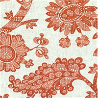 Wythe House Resist Poppy Orange Floral Drapery Fabric Order a Swatch