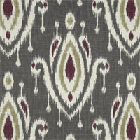 Large Ikat Print Gray Linen Look Drapery Fabric by Famous Maker