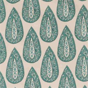 Bindi Mist Blue Floral Teardrop Drapery Fabric