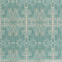 Bombay Mist Blue Cotton Ikat Print Drapery Fabric by Robert Allen