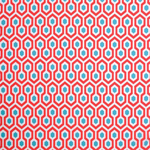 Geometric Upholstery Fabric Aqua And Red Fabric