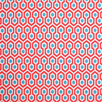 Magna Calypso Red Orange Blue Geometric Indoor Outdoor Fabric by Premeier Prints Order a Swatch