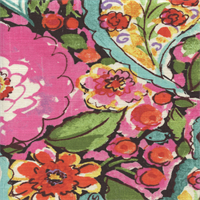 Sweet Summer Licorice Black Multi Floral Drapery Fabric by Waverly