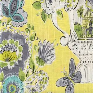 Blissful Lemon Meringue Yellow Floral Linen Blend Drapery Fabric
