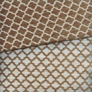 Moroccan Tile Jute Brown White Chenille Look Reversable Upholstery