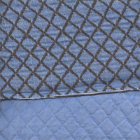 Quilted Light Blue Brown Reversable Upholstery fabric Order a Swatch