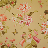 Petal Burst Champagne Tan Cotton Floral Drapery Fabric by P Kaufmann
