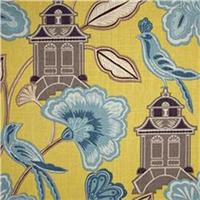 Emperors Garden Chartreuse Yellow Blue Linen Blend Drapery fabric by P Kaufmann