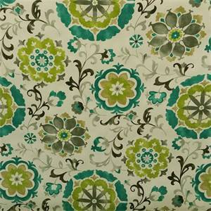 Renette Madden Oasis Turquoise Blue Floral Cotton Drapery Fabric by Swavelle Mill Creek