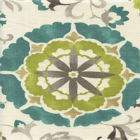 Renette Madden Oasis Turquoise Blue Floral Cotton Drapery Fabric by Swavelle Mill Creek Order a Swatch